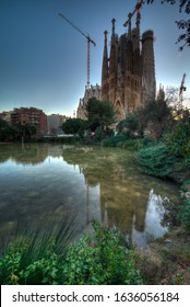 BARCELONA, SPAIN - JANUARY 31, 2020: The Basilica de la Sagrada Familia in Barcelona, Spain. The Basilica was designed by Antonio Gaudi and construction started in 1882.