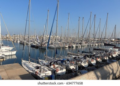 BARCELONA SPAIN - January 4, 2017: harbor with boats in Barcelona, is the capital city, 2017 in Barcelona Spain.