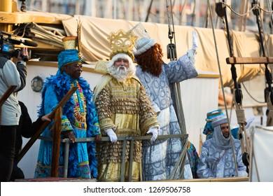 BARCELONA, SPAIN –  JANUARY 5, 2017: Arrival of three magicians in port of Barcelona by ship. Barcelona, Catalonia