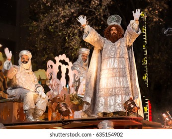 BARCELONA, SPAIN - JANUARY 5, 2017:  Festive pageantry in honor of arrival of Three Kings. Barcelona, Catalonia