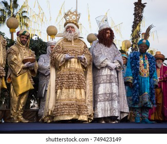 BARCELONA, SPAIN -  JANUARY 5, 2017: Three magicians Melchor, Baltasar and Gaspar greeting residents of Barcelona. Barcelona, Catalonia