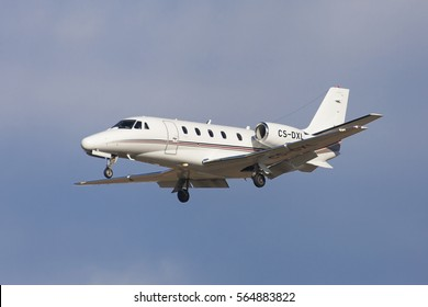 Barcelona, Spain - January 8, 2017: NetJets Europe Cessna 560XLS Citation Excel approaching to El Prat Airport in Barcelona, Spain.
