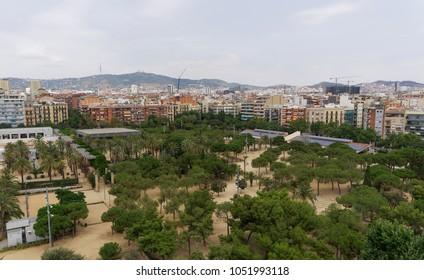 Barcelona Spain Juan Miro Park day view. Panoramic view of large open space Parc de Joan Miro next to Placa Espanya, seen from top of Arenas de Barcelona.