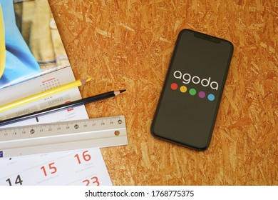Barcelona, Spain - July 03, 2020; Agoda Iphone Screen with Calendar and Ruler. Agoda is an online travel agency. #Agoda