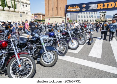 BARCELONA, SPAIN - JULY 05, 2014: General view of the exhibition entrance and motorcycles exposure mythical, BARCELONA HARLEY DAYS 2014