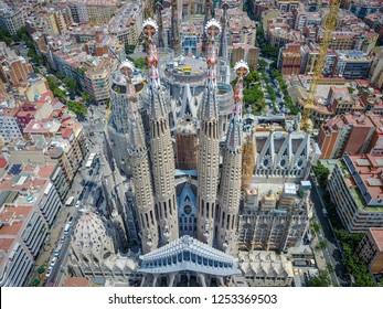 Barcelona, Spain - July 11, 2017: Sagrada Familia by Antoni Gaudi, aerial view, Catalonia, summer