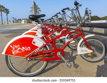 BARCELONA, SPAIN - JULY 12, 2015: Public Service Vehicles bicycles Vodafone Bicing. Bicing is the name of a bicycle sharing system in Barcelona inaugurated on March 22, 2007.