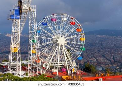Barcelona, Spain - July 12, 2017: The famous amusement park on Mount Tibidabo. Barcelona. Spain Catalonia