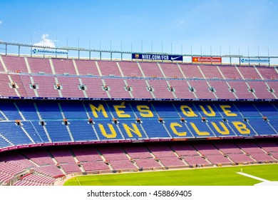 Barcelona, Spain - July 13, 2016: Football stadium Camp Nou interior with grass field and stands. The stadium has been the home of FC Barcelona since its completion in 1957