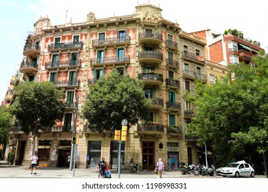 BARCELONA, SPAIN - JULY 13, 2018: beautiful building in Carrer de Tamarit street, Barcelona, Spain