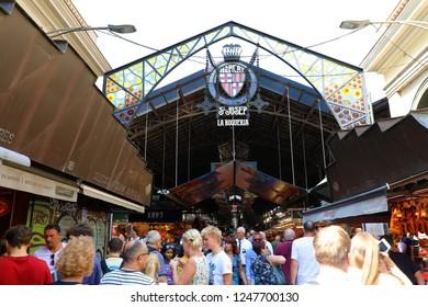 BARCELONA, SPAIN - JULY 13, 2018: La Boqueria Market entrance in Ramblas street, Barcelona, Spain
