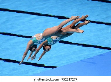 BARCELONA, SPAIN - JULY, 13: Kim Yuliya and Anastasiya Ruzmetova of Uzbekistan during a Duet Synchronised Swimming event of World Championship BCN2013 on July 13, 2013 in Barcelona Spain