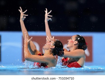 BARCELONA, SPAIN - JULY, 13: Ona Carbonell and Margalida Crespi of Spain during a Duet Synchronised Swimming event of World Championship BCN2013 on July 13, 2013 in Barcelona Spain