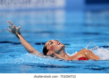 BARCELONA, SPAIN - JULY, 13: Ona Carbonell of Spain in action during a Duet  Synchronised Swimming event of World Championship BCN2013 on July 13, 2013 in Barcelona Spain