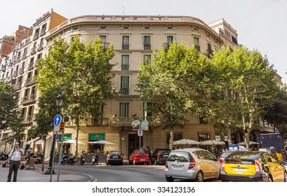 BARCELONA, SPAIN - JULY 14, 2015: Typical architecture of one urban district in Barcelona, Spain.