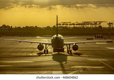 BARCELONA, SPAIN - JULY 14, 2016: Aircraft at the gate in Terminal T1 of El Prat-Barcelona airport.