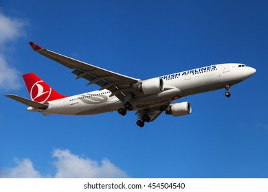 Barcelona, Spain - July 16, 2016: A Turkish Airlines Airbus A330-200 approaching to El Prat Airport in Barcelona, Spain.