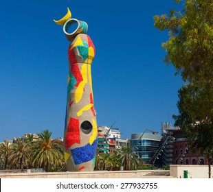 "BARCELONA, SPAIN - JULY 17, 2012:""Dona i Ocell"" (Woman and Bird) sculpture by Joan Miro located in the Parc Joan Miro.The sculpture was covered in tiles by the artist's collaborator Joan Gardy Artigas"
