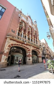 BARCELONA, SPAIN- JULY 17, 2018: Facade of Palace of Catalan Music. Palace of Catalan Music is a concert hall in Barcelona, Catalonia, Spain