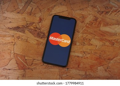 Barcelona, Spain - July 20, 2020; Mastercard App on a Particle Board Desk. Mastercard is a multinational financial services corporation. #Mastercard