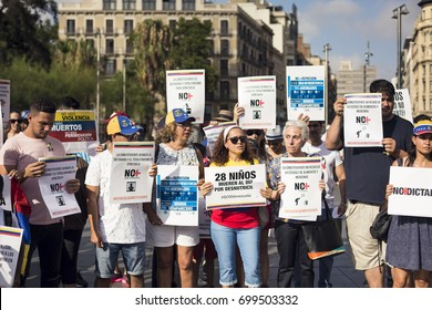 BARCELONA, SPAIN - JULY 2017 - Venezuelan people protests against his government in Barcelona on July 30, 2017 in Barcelona, Spain.