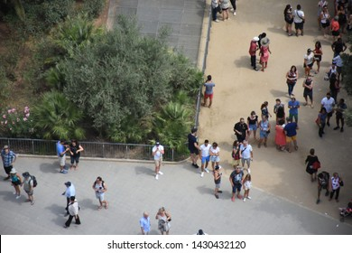 Barcelona, Spain - July 22, 2017: Views from the Sagrada Familia. Looking down from Sagrada Familia at Barcelona streets and parks.