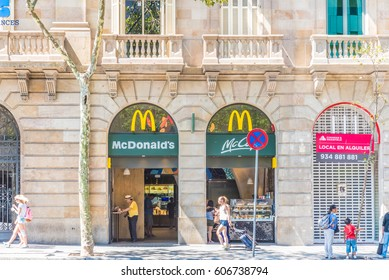 BARCELONA, SPAIN - JULY 24, 2016: Street view of Barcelona, Spain. Barcelona is the capital city of the autonomous community of Catalonia in the Kingdom of Spain.