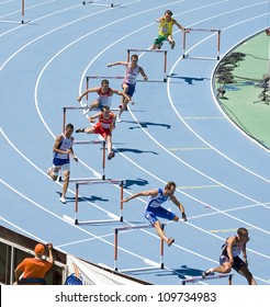 BARCELONA, SPAIN - JULY 28: Competitors of 400 meters Hurdles Men Round 1 of the 20th European Athletics Championships at the Olympic Stadium on July 28, 2010, in Barcelona, Spain.