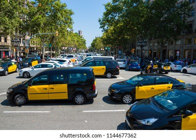 Barcelona, Spain; July 29 2018: Strike of taxi drivers against Uber and Cabify competition