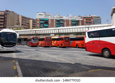 Barcelona, Spain, July 3, 2019. Barcelona Nord bus siation