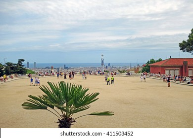 BARCELONA, SPAIN - JULY 31, 2015: Cityscape view of the famous architectural landmark Park Guell in Barcelona, designed by renowned architect Antoni Gaudi and built between 1900 and 1914