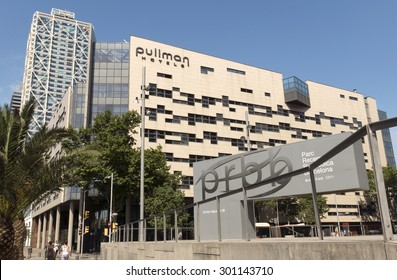 BARCELONA, SPAIN - JULY 4, 2015: Buildings of Pullman Barcelona Skipper Hotel. Hotel located nearby beaches, city center and the Olympic Port.