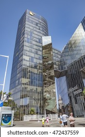 BARCELONA, SPAIN - JULY 4, 2016: Office building of Gas Natural fenosa is a Spanish natural gas utilities company. The firm is headquartered located in Barcelona.