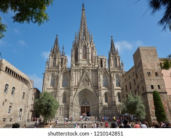 Barcelona, Spain - July, 4th, 2018: Photo of the whole frontal part (main entrance) of the Catedral de Barcelona.