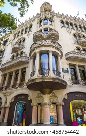 BARCELONA, SPAIN - JULY 5, 2016: Casa Lleo Morera in Barcelona, Spain. Was built in 1902-1906 by Catalan architect Domenech i Montaner.