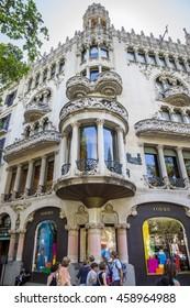 BARCELONA, SPAIN - JULY 5, 2016: Casa Lleo Morera in Barcelona, Spain. Was built in 1902-1906 by Catalan architect Domenech i Montaner.