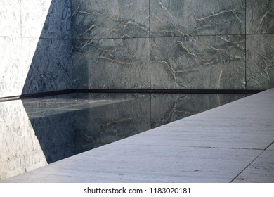 BARCELONA, SPAIN - JULY 5, 2017: Barcelona Pavilion desgined by Ludwig Mies van der Rohe