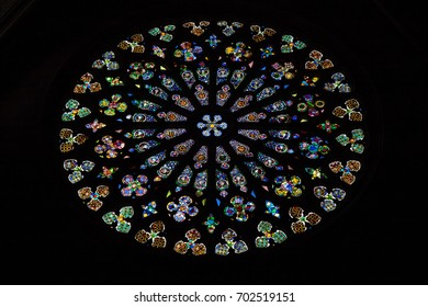BARCELONA, SPAIN, JULY 5, 2017: Main stained glass window of the Basilica of Santa Maria del Pi