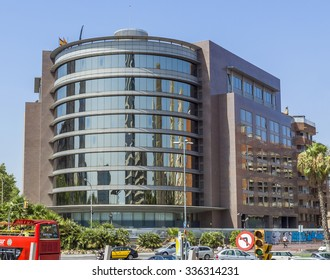 BARCELONA, SPAIN - JULY 6, 2015: Modern architecture of one urban district in Barcelona, Spain.
