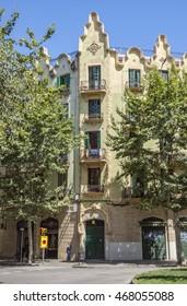 BARCELONA, SPAIN - JULY 7, 2016: Architecture along Rambla del Poblenou street in Barcelona, Spain