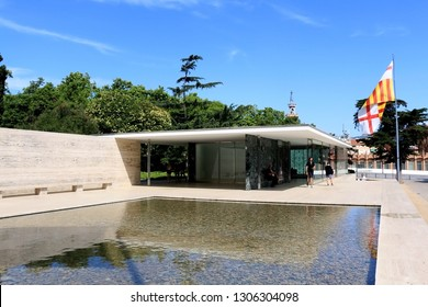 Barcelona, Spain - July 8, 2018: Visitors at Barcelona Pavilion, designed by Ludwig Mies van der Rohe in Barcelona, Spain.