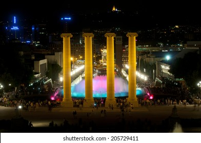 BARCELONA, SPAIN - JUN 15, 2014: Lights, colors and music spectacle at night, located in magic fountains situated in Montjuich mountain.