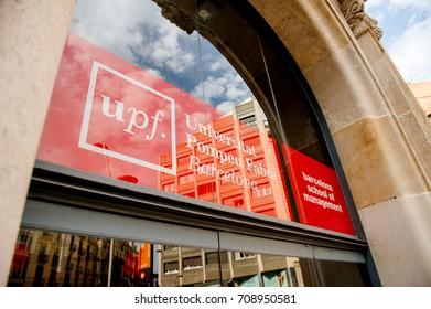 BARCELONA, SPAIN - JUN 29, 2016: Universitat Pompeu Fabra Barcelona school of management entrance with Univeristy logotype