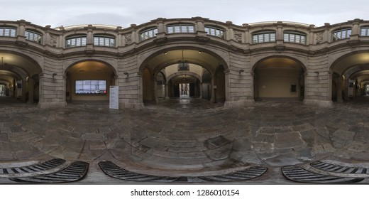 Barcelona, Spain. - Jun, 4, 2017: Interior of the Palau de la Virreina on La Rambla in Barcelona. Full spherical 360 degrees seamless panorama in equirectangular projection, photo for VR AR content