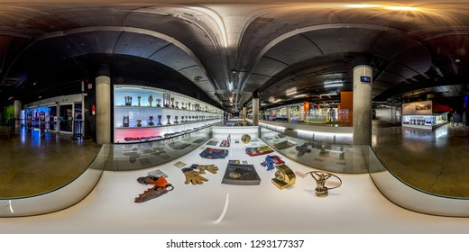 Barcelona, Spain. - Jun, 5, 2017: Interior of the FCB Museum in Barcelona. Full spherical 360 degrees seamless panorama in equirectangular equidistant projection, photo for VR AR content