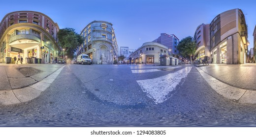 Barcelona, Spain. - Jun, 5, 2017: The cats of the Xuclà street in Barcelona, here we see the building of the Cats of Arnal Ballesteren. Full spherical 360 degrees panorama, photo for VR AR content.