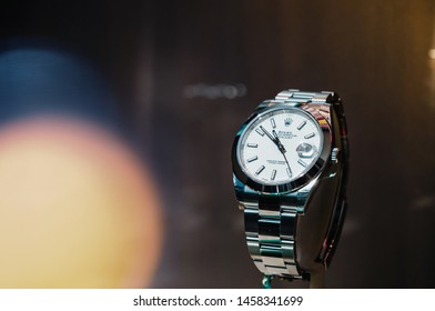 Barcelona, Spain - Jun1 1, 2018: Elegant female luxury wrist Swiss watch manufactured by Rolex model Oyster Perpetual in the official store distributor store showcase
