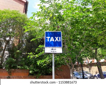 Barcelona, Spain - June 04, 2018: Taxi sign on a European street