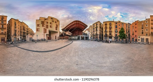 Barcelona, Spain; june, 04,2017. The Joan Capri Square and the Santa Caterina market in Barcelona, Full spherical 360 degrees seamless panorama in equirectangular equidistant projection, photo for VR