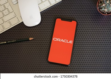 Barcelona, Spain - June 06, 2020; Oracle Apps with Keyboard Mouse and Succulent. Oracle is an American multinational computer technology corporation. #Oracle